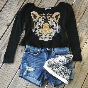 Sequin Tiger Hi-Lo Sweater